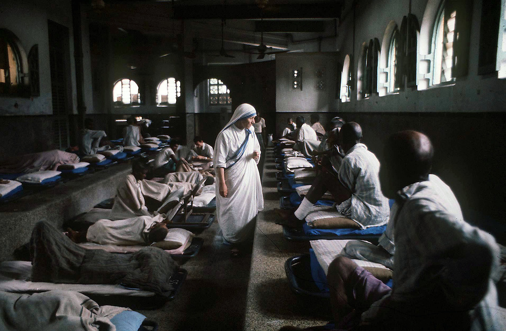 Mother Teresa in her home for the destitute and dying in Calcutta, India in 1969. Photographed by Terry fincher