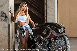 Ashley Walker of California with Cory Ness' twin engine side-by-side Harley (from Arlen Ness inc) during the 2016 ROT (Republic of Texas Rally). Austin, TX, USA. June 11, 2016.  Photography ©2016 Michael Lichter.