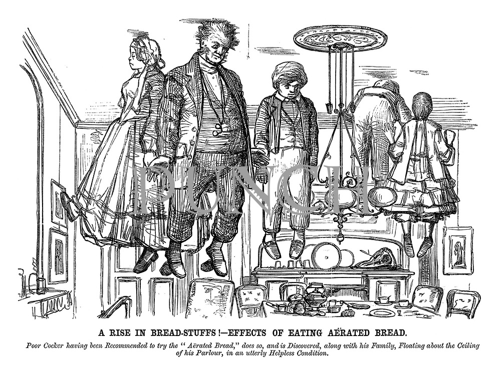 A Rise in Bread-Stuffs! - Effects of Eating Aerated Bread. Poor Cocker having been recommended to try the 'Aerated Bread,' does so, and is discovered, along with his family, floating about the ceiling of his parlour, in an utterly helpless condition.