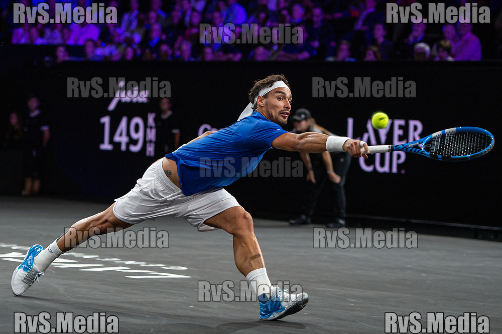GENEVA, SWITZERLAND - SEPTEMBER 20: Fabio Fognini of Team Europe plays a backhand during Day 1 of the Laver Cup 2019 at Palexpo on September 20, 2019 in Geneva, Switzerland. The Laver Cup will see six players from the rest of the World competing against their counterparts from Europe. Team World is captained by John McEnroe and Team Europe is captained by Bjorn Borg. The tournament runs from September 20-22. (Photo by Monika Majer/RvS.Media)