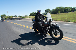 Clint Funderburg riding his 1929 Indian Chief during Stage 15 (244 miles) of the Motorcycle Cannonball Cross-Country Endurance Run, which on this day ran from Lewiston, Idaho to Yakima, WA, USA. Saturday, September 20, 2014.  Photography ©2014 Michael Lichter.