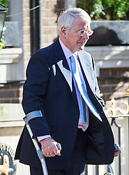 © London News Pictures. 02/03/2016. London, UK. Former British prime minister JOHN MAJOR seen leaving the Goring Hotel in Victoria, London on crutches. Photo credit: London News Pictures