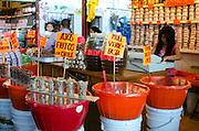 Fried garlic and mole for sale in the Mercado Benito Juarez, Oaxaca.