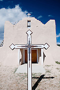 A color image of the San Lorenzo Church in Picuris Pueblo in New Mexico.