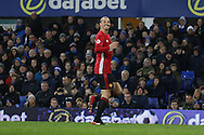 Zlatan Ibrahimovic of Manchester United celebrates as he watches as his effort goes towards the goal and over the line for him to score his teams 1st goal. Premier league match, Everton v Manchester United at Goodison Park in Liverpool, Merseyside on Sunday 4th December 2016.<br /> pic by Chris Stading, Andrew Orchard sports photography.