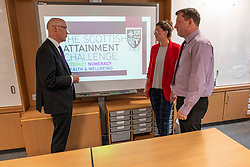 Pictured: John Swinney discussed the attainment programme with Robyn Wade, PEF co-ordinator, and Andy Rooney, Schools Programme Co-ordinator<br />