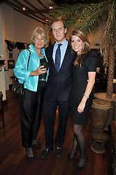 Left to right, JANIE CADBURY, GEORGE CADBURY and CATHERINE LANGDON at a reception in aid of Save The Elephants held at Patrick Mavros, 104-106 Fulham Road, Lodon SW3 on 23rd September 2009.