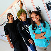 052113  Adron Gardner/Independent<br /> <br /> Window Rock Scouts Atsatsa Antonio, left, Kendrick Manymules and Ravonelle Yazzie are all finalists for the Gates Millennium Scholarship at Window Rock High School in Fort Defiance Tuesday.  Post high school Antonio will be headed to Lewis and Clarke College, Manymules to the Massassachusetts Institute of Technology and Yazzie to Dickinson College.