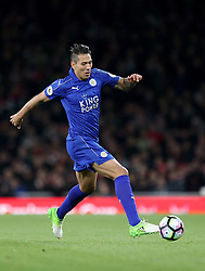 """Leicester City's Leonardo Ulloa during the Premier League match at the Emirates Stadium, London. PRESS ASSOCIATION Photo. Picture date: Wednesday April 26, 2017. See PA story SOCCER Arsenal. Photo credit should read: Steven Paston/PA Wire. RESTRICTIONS: EDITORIAL USE ONLY No use with unauthorised audio, video, data, fixture lists, club/league logos or """"live"""" services. Online in-match use limited to 75 images, no video emulation. No use in betting, games or single club/league/player publications"""