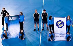 EHF flags and referees Siarhei Repkin (L) and Andrei Gousko of Belarus before 3rd Main Round of Women Champions League handball match between RK Krim Mercator, Ljubljana and Larvik HK, Norway on February 19, 2010 in Arena Kodeljevo, Ljubljana, Slovenia. Larvik defeated Krim 34-30. (Photo by Vid Ponikvar / Sportida)