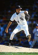 CHICAGO - SEPTEMBER 30:  Jack McDowell of the Chicago White Sox pitches during the last game at old Comiskey Park in Chicago, Illinois on September 30, 1990.  McDowell played for the White Sox from 1987-1994. (Photo by Ron Vesely)