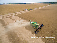 63801-09009 Soybean Harvest, 2 John Deere combines harvesting soybeans - aerial - Marion Co. IL