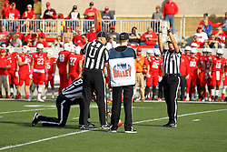 29 October 2016:  Referee Rich Edwards calls the ball short on a first down measurement.  NCAA FCS Football game between South Dakota State Jackrabbits and Illinois State Redbirds at Hancock Stadium in Normal IL (Photo by Alan Look)
