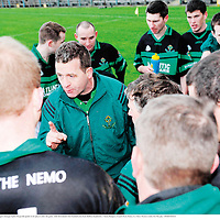 24 February 2008; Nemo Rangers manager Ephie Fitzgerald speaks to his players after the game. AIB All-Ireland Club Football semi-final, Ballina Stephenites v Nemo Rangers, Cusack Park, Ennis, Co. Clare. Picture credit; Pat Murphy / SPORTSFILE