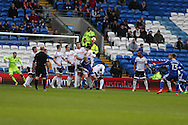 Anthony Pilkington of Cardiff city (13 right) scores his teams 1st goal with a free-kick. The Emirates FA Cup, 3rd round match, Cardiff city v Fulham at the Cardiff city stadium in Cardiff, South Wales on Sunday 8th January 2017.<br /> pic by Andrew Orchard, Andrew Orchard sports photography.