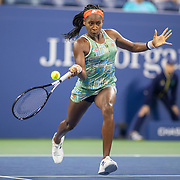 2019 US Open Tennis Tournament- Day Four.  Coco Gauff of the United States in action against Timea Babos of Hungary in the Women's Singles Round Two match on Louis Armstrong Stadium at the 2019 US Open Tennis Tournament at the USTA Billie Jean King National Tennis Center on August 29th, 2019 in Flushing, Queens, New York City.  (Photo by Tim Clayton/Corbis via Getty Images)