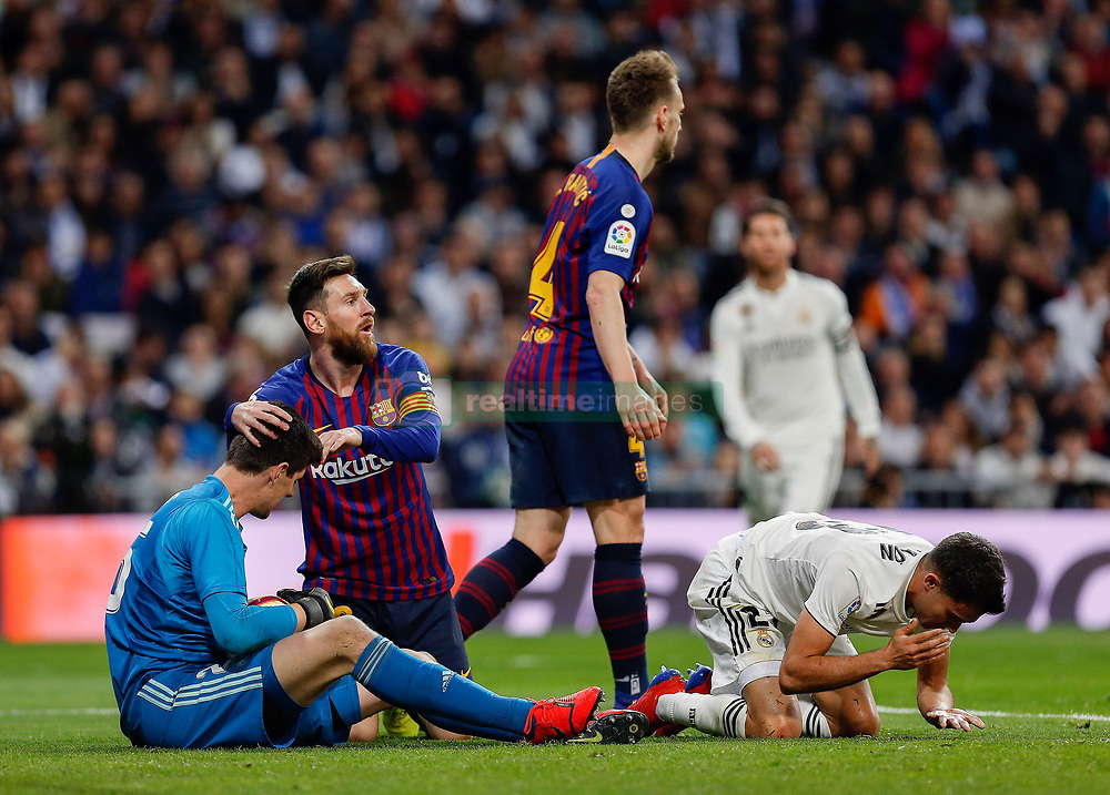 March 2, 2019 - Madrid, Spain - Real Madrid CF's Tibaut Courtois and FC Barcelona's Lionel Messi during La Liga match between Real Madrid and FC  Barcelona at Santiago BernabÈu in Madrid..Final Score: Real Madrid 0 - 1 FC Barcelona (Credit Image: © Manu Reino/SOPA Images via ZUMA Wire)