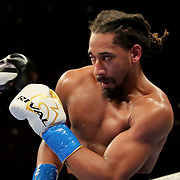 HOLLYWOOD, FL - APRIL 17:  Demetrius Andrade ducks a punch from Liam Williams during the WBO Middleweight Championship fight at Seminole Hard Rock Hotel & Casino on April 17, 2021 in Hollywood, Florida. (Photo by Alex Menendez/Getty Images) *** Local Caption *** Demetrius Andrade; Liam Williams