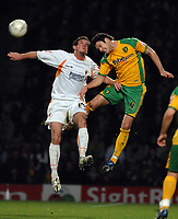Photo: Ashley Pickering.<br /> Norwich City v Blackpool. The FA Cup. 13/02/2007.<br /> Scott Vernon of Blackpool (L) and Jason Shackell of Norwich