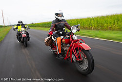 Andrea Labarbara riding her 1934 Indian 4-cylinder during the Cross Country Chase motorcycle endurance run from Sault Sainte Marie, MI to Key West, FL (for vintage bikes from 1930-1948). Stage 3 from Milwaukee, WI to Urbana, IL. USA. Sunday, September 8, 2019. Photography ©2019 Michael Lichter.