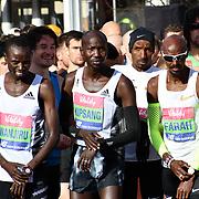 Daniel Wanjuri,Wilson Kipsang and Mo Farah at the elite race start men and women at The Vitality Big Half 2019 on 10 March 2019, London, UK.