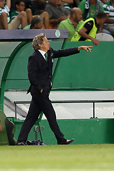 August 15, 2017 - Lisbon, Portugal - Sporting's head coach Jorge Jesus from Portugal gestures during the UEFA Champions League play-offs first leg football match between Sporting CP and FC Steaua Bucuresti at the Alvalade stadium in Lisbon, Portugal on August 15, 2017. Photo: Pedro Fiuza (Credit Image: © Pedro Fiuza via ZUMA Wire)