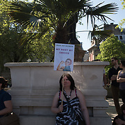 A small group of Pro-Choice, My body , My Choice stage counter-protests to anti-abortion on 5 May 2018 in Parliament Square, London, UK