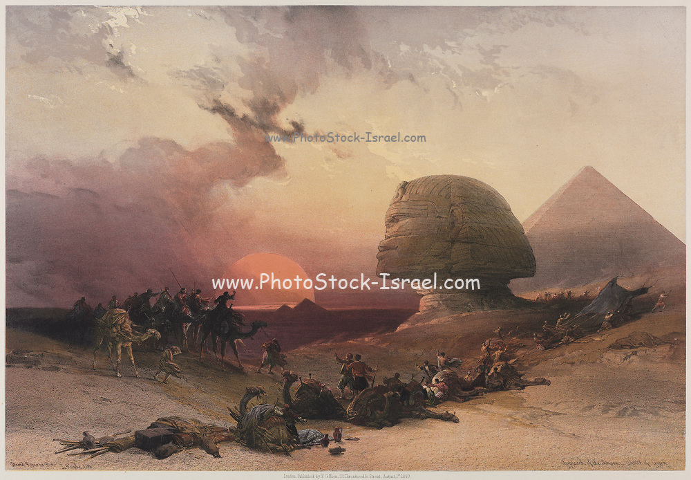 Approach of the Simoon-Desert at Gizeh at sunset. 1849 Color lithograph by David Roberts (1796-1864). An engraving reprint by Louis Haghe was published in a the book 'The Holy Land, Syria, Idumea, Arabia, Egypt and Nubia. in 1855 by D. Appleton & Co., 346 & 348 Broadway in New York.