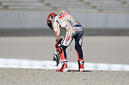 #93 Marc Marquez, Spanish: Repsol Honda Team picks up some of the parts after falling from the new test bike during 2020 MotoGP Testing at Circuito Ricardo Tormo Cheste, Valencia, Spain on 19 November 2019.