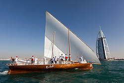Traditional dhow race. All six crews were sailing with the owners of the dhows including some of the owners local crew members. All4One (GER/FRA) won. Dubai, United Arab Emirates, November 20th 2010. Louis Vuitton Trophy  Dubai (12 - 27 November 2010) © Sander van der Borch / Artemis Racing
