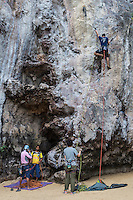 The limestone rocks in Krabi attract rock climbers and sports climbers from all around the world.  Especially popular is the rock climbing on the monumental peaks of Railay Beach.  Sport climbing is a form of roped climbing where metal bolts placed in the rock are used for protection. If you slip, your harness and rope will arrest the fall leaving you to concentrate on improving your climb worry free.