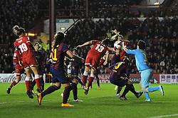 Bristol Academy Womens' Laura Del Rio Garcia heads towards goal - Photo mandatory by-line: Dougie Allward/JMP - Mobile: 07966 386802 - 13/11/2014 - SPORT - Football - Bristol - Ashton Gate - Bristol Academy Womens FC v FC Barcelona - Women's Champions League