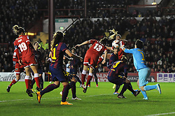 Bristol Academy Womens' Laura Del Rio Garcia heads towards goal - Photo mandatory by-line: Dougie Allward/JMP - Mobile: 07966 386802 - 13/11/2014 - SPORT - Football - Bristol - Ashton Gate - Bristol Academy Womens FC v FC Barcelona - Women's Champions League