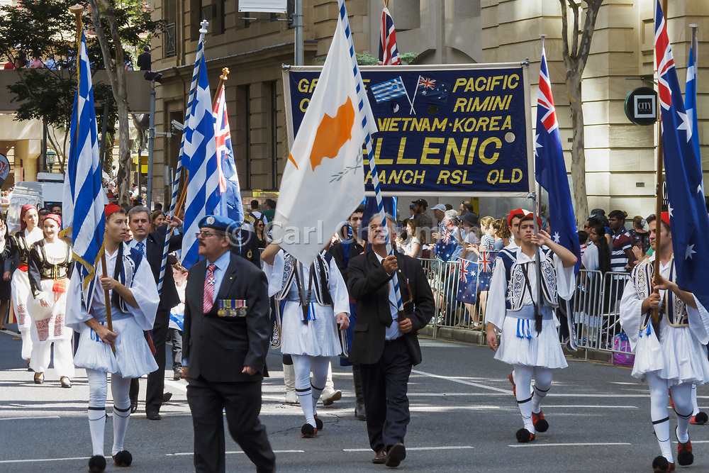 Greek Hellenic RSL branch marching during Brisbane ANZAC day 2014 parade <br /> <br /> Editions:- Open Edition Print / Stock Image
