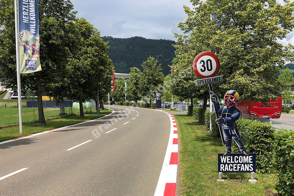 Welcome Racefans sign before the 2020 Austrian Grand Prix at the Red Bull Ring in Spielberg. Photo: Grand Prix Photo