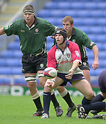 Reading, Berkshire, 10th May 2003,  [Mandatory Credit; Peter Spurrier/Intersport Images], Zurich Premiership Rugby, Michael Lipman clears the ball, London Irish's,  Ryan Strudwick ,left and Goeff Appleyard , right look on,