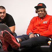 Luis Ortiz rests in his locker room prior to his WBC Heavyweight Championship boxing match against Deontay Wilder at Barclays Center on Saturday, March 3, 2018 in Brooklyn, New York. (Alex Menendez via AP)