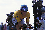 Discovery Channel's Lance Armstrong in action during the final time trial of the 2005 Tour de France.