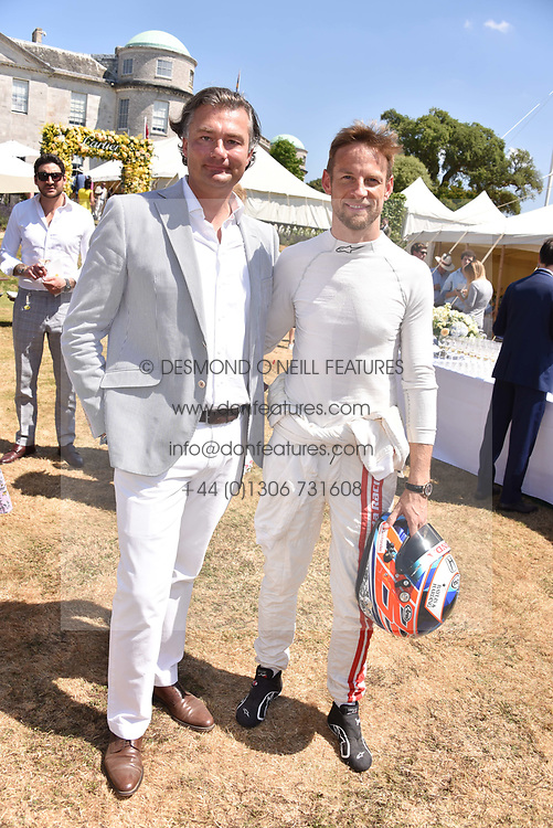 Laurent Feniou and Jenson Button at the 'Cartier Style et Luxe' enclosure during the Goodwood Festival of Speed, Goodwood House, West Sussex, England. 15 July 2018.