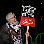 Speaker Leanne Mohamad condemns President Trump's recognizing Jerusalem as Israel's capital, protestors stated Jerusalem is and always the capital of Palestine on 8th Dec 2017 outside US embassy, London, UK