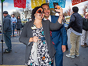 02 NOVEMBER 2019 - DES MOINES, IOWA: Former Secretary of Housing and Urban Development JULIAN CASTRO poses for a selfie Saturday. Castro visited a Dias de los Muertos (Day of the Dead) block party in in the community. Castro is in Iowa campaigning to be the Democratic nominee for the US Presidency in 2020. Iowa is the first state to host a presidential selection event. The Iowa caucuses are Feb. 3, 2020.           PHOTO BY JACK KURTZ