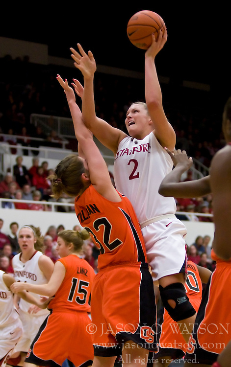 February 20, 2010; Stanford, CA, USA;  Stanford Cardinal forward/center Jayne Appel (2) shoots over Oregon St. Beavers forward Kirsten Tilleman (32) during the first half at Maples Pavilion. Stanford defeated Oregon State 82-48.