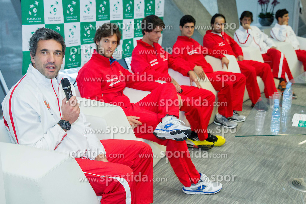Captain Nuno Marques and players of Portugal during press conference of Davis Cup Slovenia vs Portugal competition on January 28, 2014 in BTC City, Ljubljana, Slovenia. Photo by Vid Ponikvar / Sportida