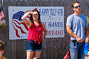 03 JULY 2021 - NORWALK, IOWA: People watch the 4th of July parade in Norwalk, Iowa. Last year's parade was cancelled because of the COVID-19 pandemic. Norwalk is an agricultural community south of Des Moines. In recent years, Norwalk has become a suburb of Des Moines.       PHOTO BY JACK KURTZ