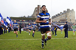 Levi Douglas and the rest of the Bath Rugby team run out onto the field - Mandatory byline: Patrick Khachfe/JMP - 07966 386802 - 27/01/2018 - RUGBY UNION - The Recreation Ground - Bath, England - Bath Rugby v Newcastle Falcons - Anglo-Welsh Cup