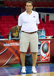 Head coach Mike Krzyzewski of the USA Senior Men's National Team watches practice  prior to the 2010 World Championships of Basketball on August 27, 2010 at Abdi Ipekci Arena in Istanbul, Turkey. (Photo by Vid Ponikvar / Sportida)