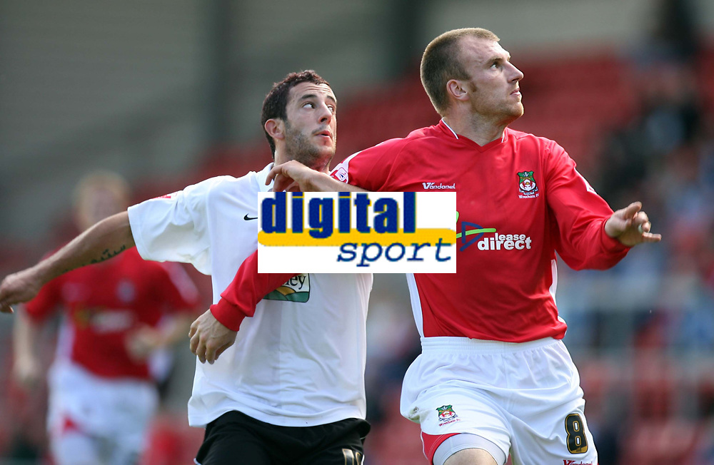 Photo: Rich Eaton.<br /> <br /> Wrexham v Hereford United. Coca Cola League 2. 24/09/2006. Stuart Fleetwood left of Hereford and Danny Williams right of Wrexham