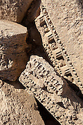 Fragments of sculpted stone. Palmyra, Syria. Ancient city in the desert that fell into disuse after the 16th century.