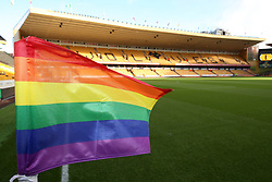 A Rainbow corner flag during the Sky Bet Championship match at Molineux, Wolverhampton.