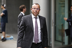 © Licensed to London News Pictures. 03/07/2017. London, UK. Financier Jeff Blue leaves the High Court. Newcastle FC owner Mike Ashley is in dispute with financial expert Jeff Blue over payments promised in relation to the share price of Sports Direct. Photo credit: Peter Macdiarmid/LNP